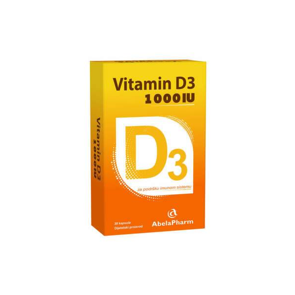 Abela Pharm Vitamin D3 1000 IJ, 30 kapsula