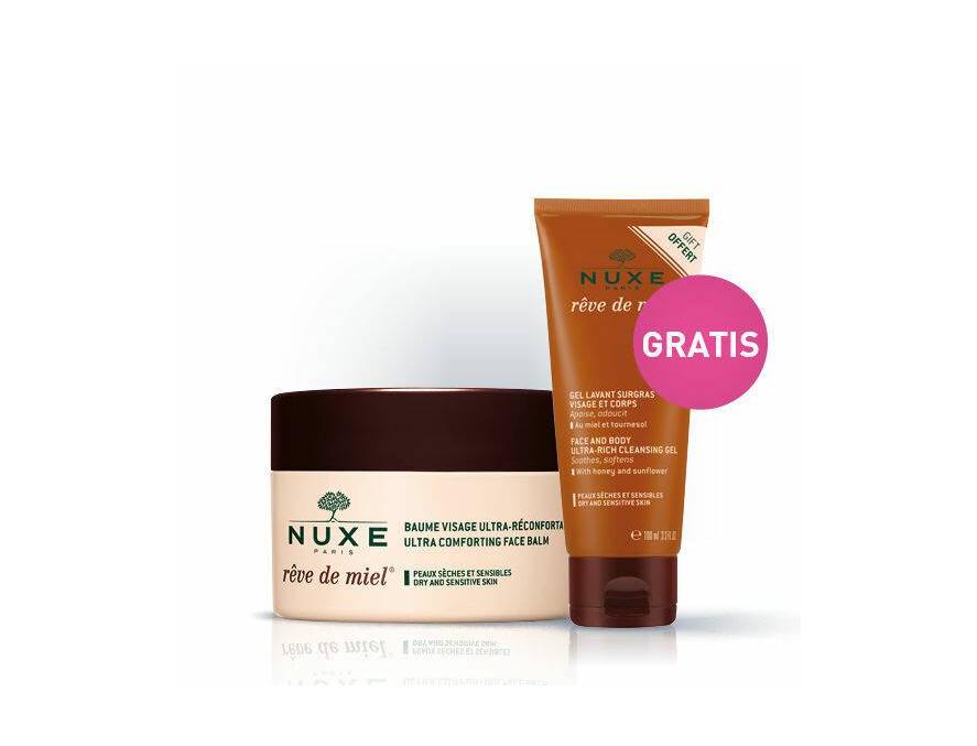 Nuxe Huile de Miele Baume Visage balzam za lice 50 ml + Gel za čišćenje lica 100 ml Gratis
